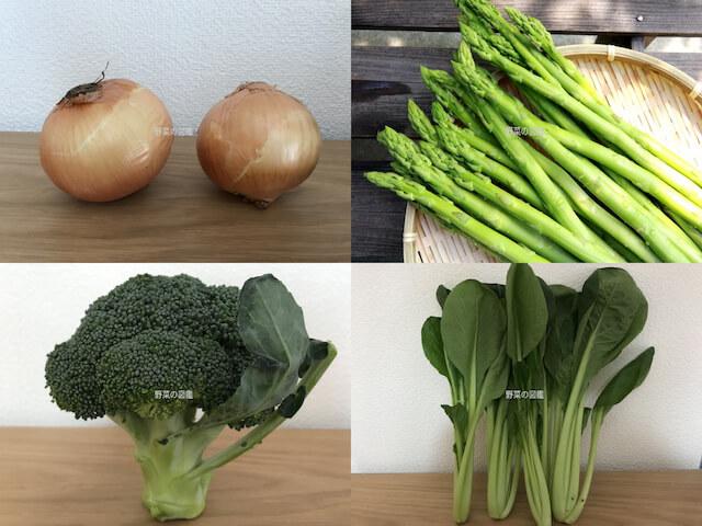 葉を食べる野菜(玉ねぎ・アスパラガス・ブロッコリー・小松菜)