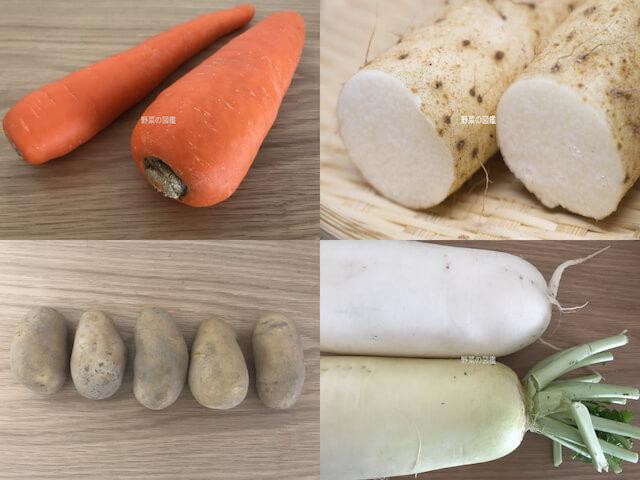 根や茎を食べる野菜(人参・山芋・じゃがいも・大根)