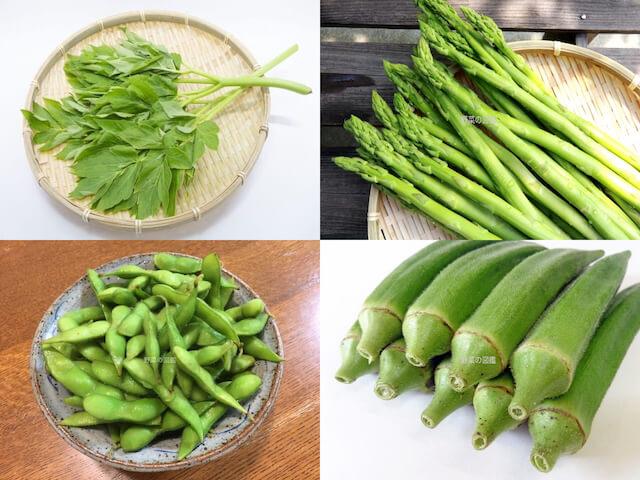 野菜50音あ行(明日葉・アスパラガス・枝豆・おくら)