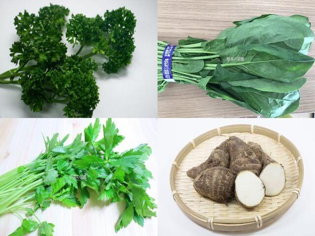 カリウムの含有量が多い野菜(パセリ、ほうれん草、三つ葉、里芋)