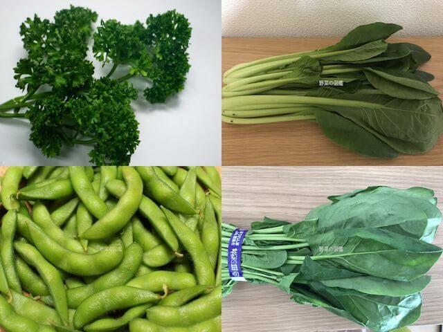 鉄分(鉄)の含有量が多い野菜(パセリ、小松菜、枝豆、ほうれん草)