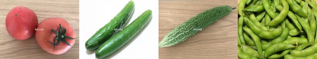 夏が旬の野菜(トマト・きゅうり・ゴーヤ・枝豆)